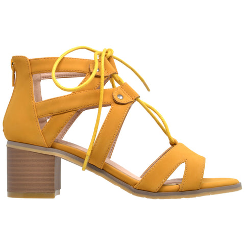 Womens Dress Sandals Lace Up Gladiator Block Heel Shoes Yellow