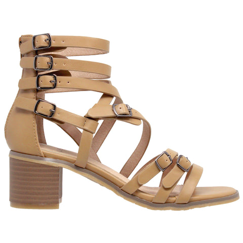 Womens Dress Sandals Strappy Buckle Accent Block Heel Gladiators Tan