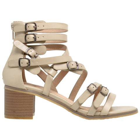Womens Dress Sandals Strappy Buckle Accent Block Heel Gladiators Taupe