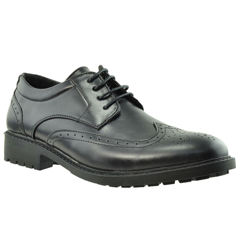 Mens Dress Shoes Derby Wingtip Lace Up Broguing Cap Toe  black