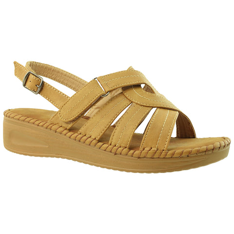 Womens Platform Sandals Strappy Buckle Moc Stitch Soft Cushioned Insole Tan