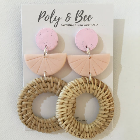 Rattan Weave Circle Statement Earring (w)