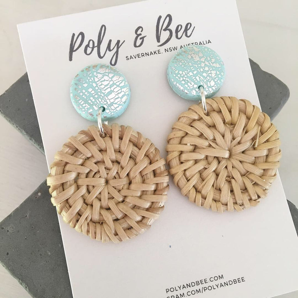 Mini Rattan Dangles with Silver Foil Stud (w)