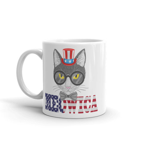 Gray Cat With Hat USA Mug