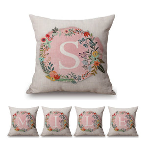 Pink Floral Letter Pillow Cases
