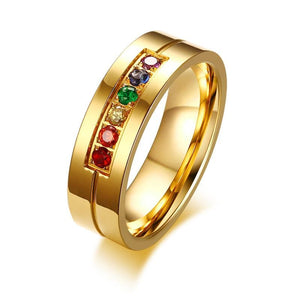 Gold-Plated Rainbow Crystal Ring