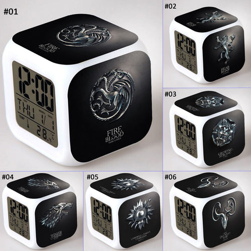 28% OFF LIMITED TIME OFFER - Game of Thrones Crest B&W - LED 7 Colours Changing Alarm Clock