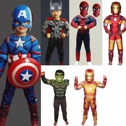 Kid's Muscle Costumes - Captain America, Iron Man, Thor, Spider-Man, Hulk