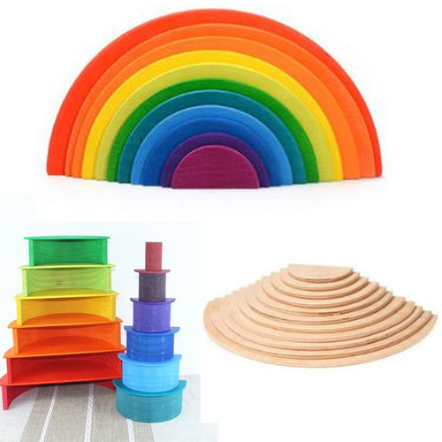 37% OFF - LIMITED TIME OFFER - 11Pcs Educational Rainbow Wooden Semi-Circle Building Boards - 35.5cm x 18.5cm x 1cm