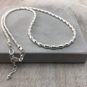 Thin Sterling Silver Oval Beaded Necklace