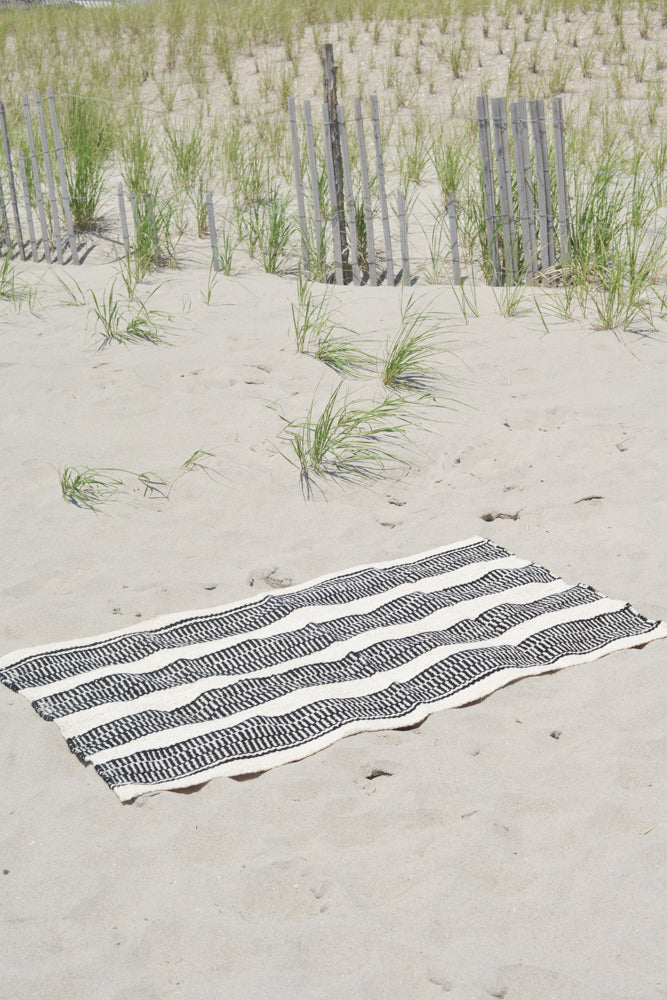Soft Rug Black and White Striped Made in Ecuador