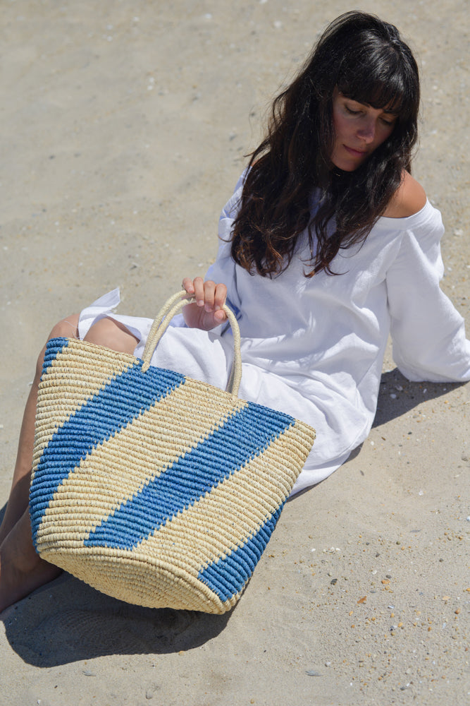 Blue striped nautical woven beach market tote bag