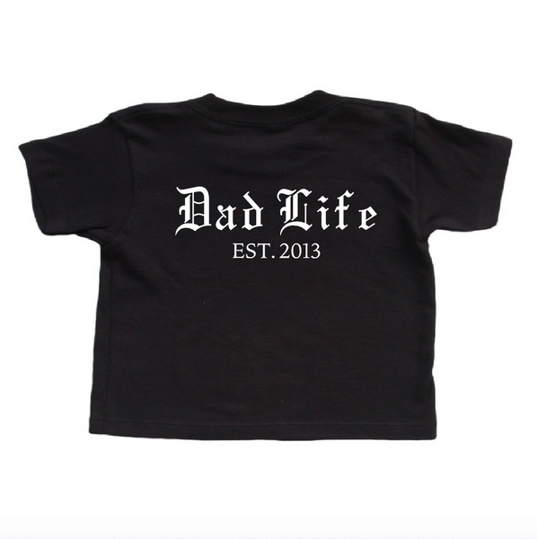 Black T shirt with Dad Life customized year. Father's Day Shirt. New Dad Gift. Personalized Dad Shirt