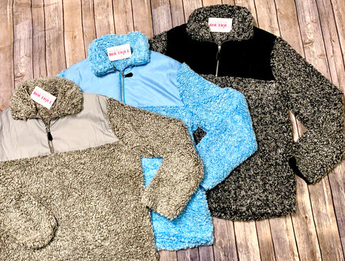 Cozy Color Block Sherpa Sweaters