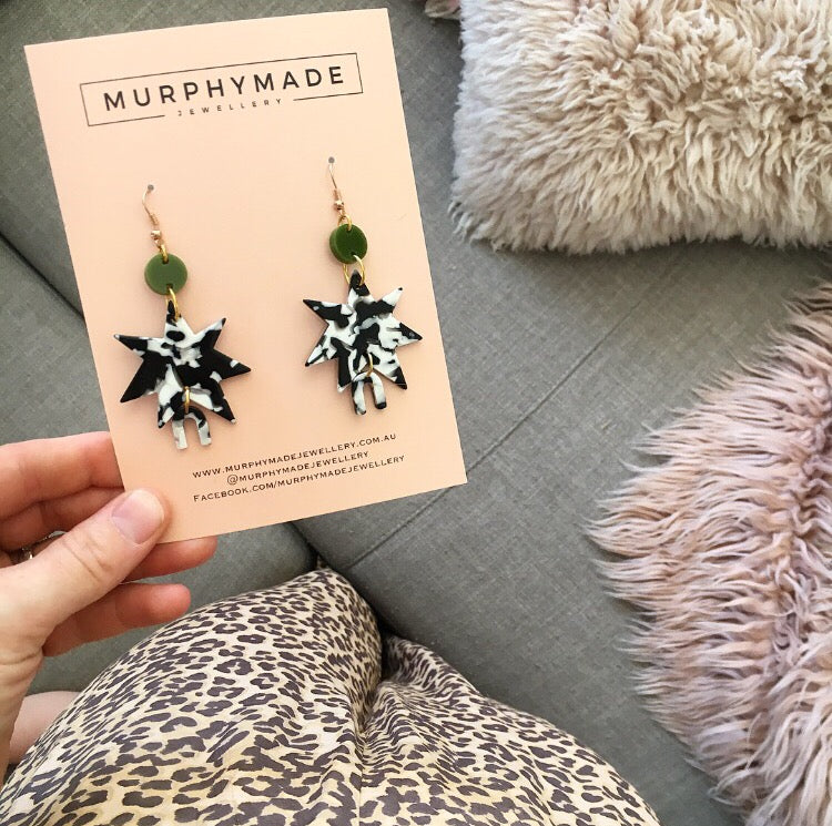 Rainbow Star Earrings - Olive & Monochrome