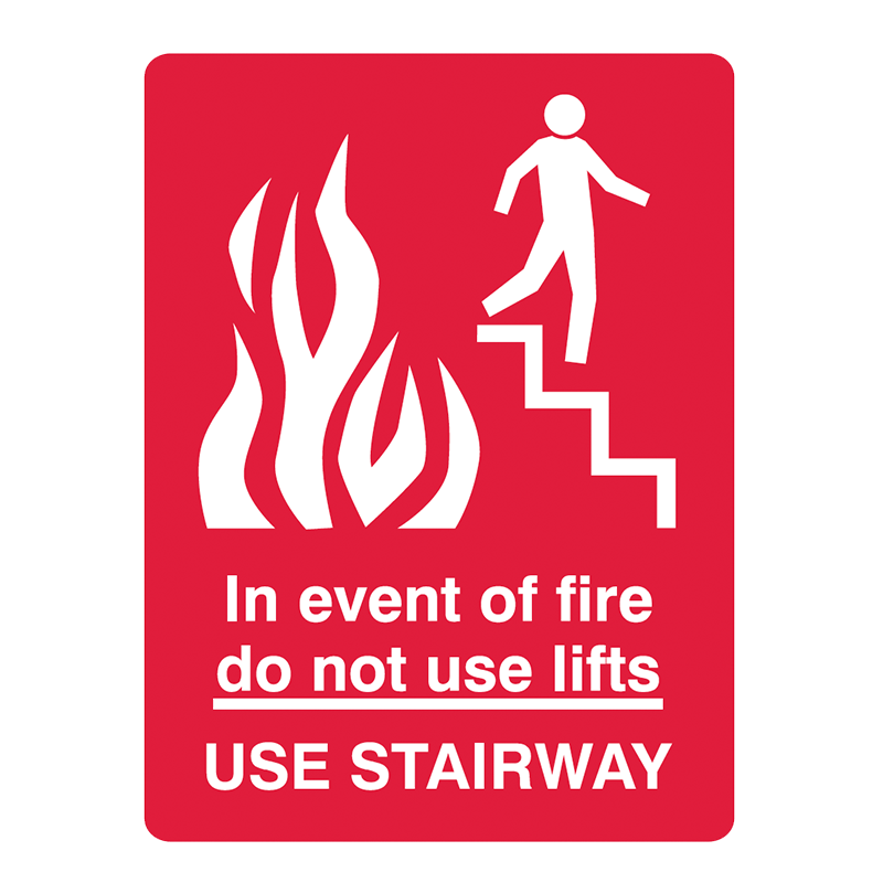 Brady Fire Equipment Signs: In The Event Of Fire Do Not Use Lifts