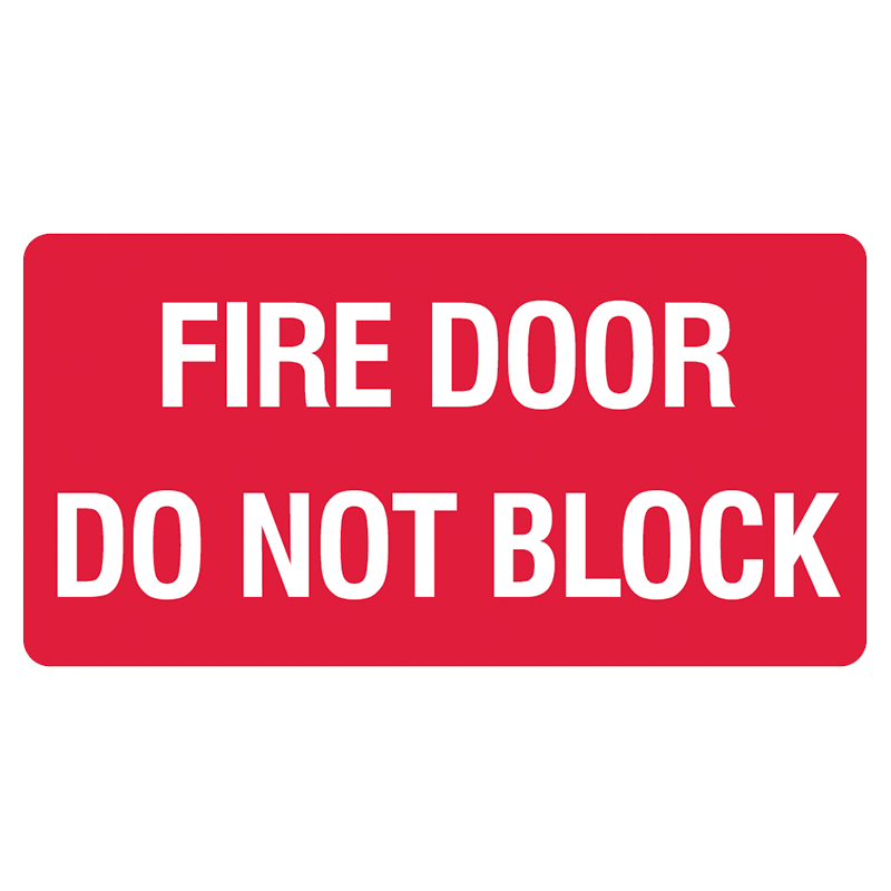 Brady Fire Equipment Signs: Fire Door Do Not Block (Landscape)