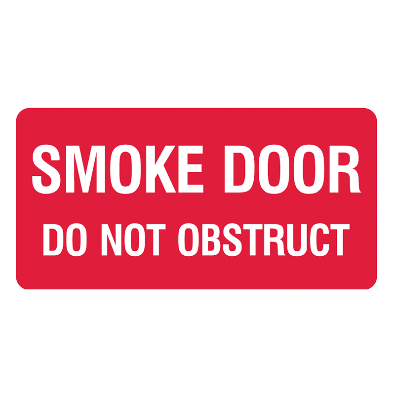Brady Fire Equipment Signs: Smoke Door Do Not Obstruct (Landscape)