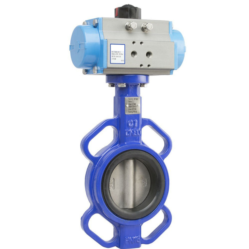 "GO Butterfly Valve Actuated Double Acting Pneumatic CI Body 316 SS Disc EPDM Liner 2"" to 24"" BFDDA Range"