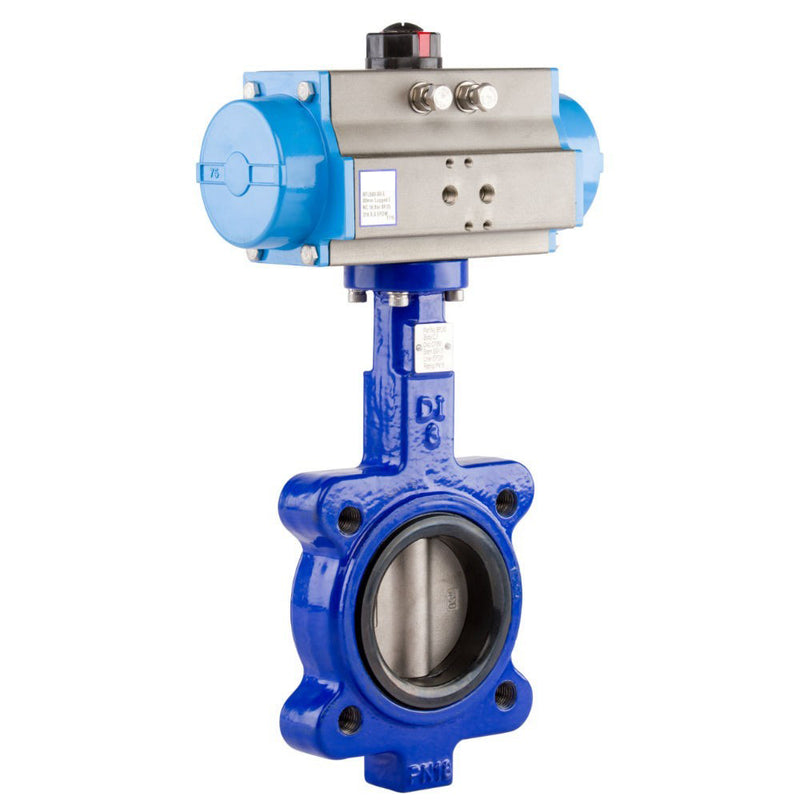 "GO Butterfly Valve Actuated Spring Return Pneumatic Lugged CI Body 316 SS Disc EPDM Liner 2"" to 24"" BFLSR Range"