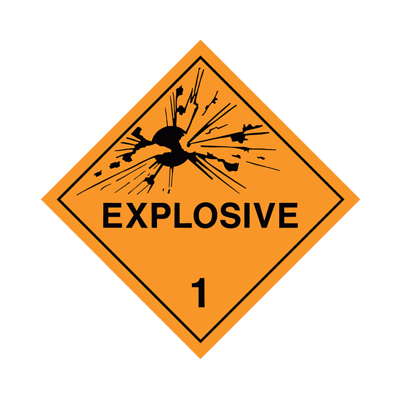 Brady Dangerous Goods Sign / Placard - Class 1 Explosive 1