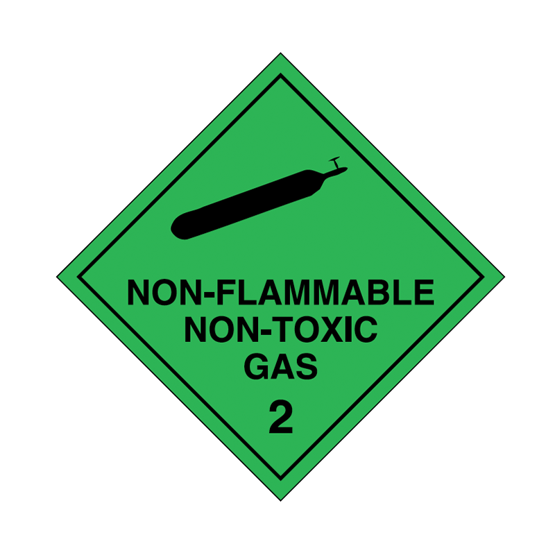 Brady Dangerous Goods Sign / Placard - Class 2 Non Flammable Non Toxic (black)