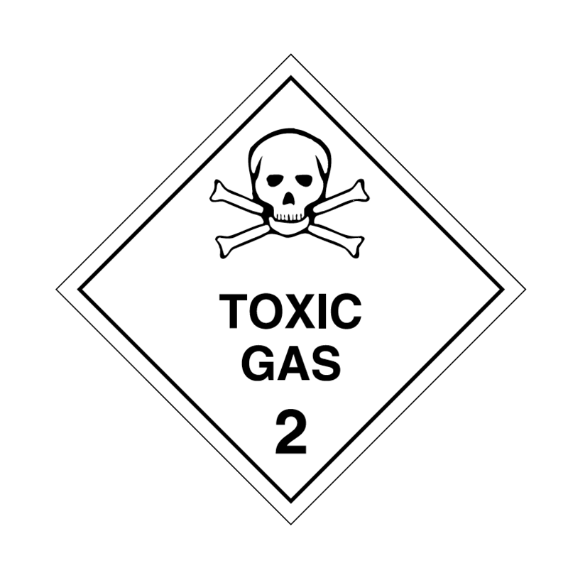 Brady Dangerous Goods Sign / Placard - Class 2 Toxic Gas 2