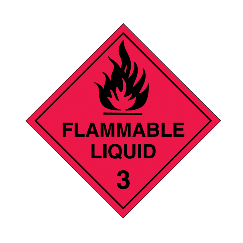 Brady Dangerous Goods Sign / Placard - Class 3 Flammable Liquid 3 (black)