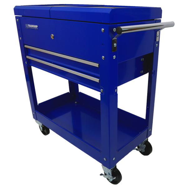 Tradequip Workshop Trolley 2 Drawer Lockable Sliding Top 6019T