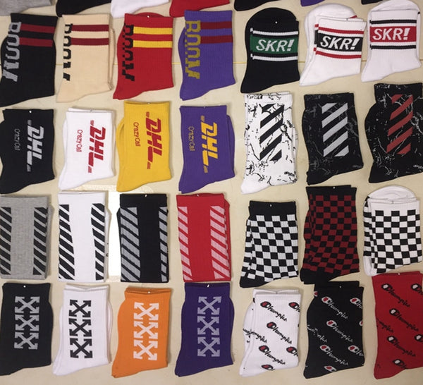 1 Pair Hip Hop Men's Long Socks Pure Cotton Palaoe Unisex Patter Letter Champioa Socks Street Harajuku Sock Off White Men Socks