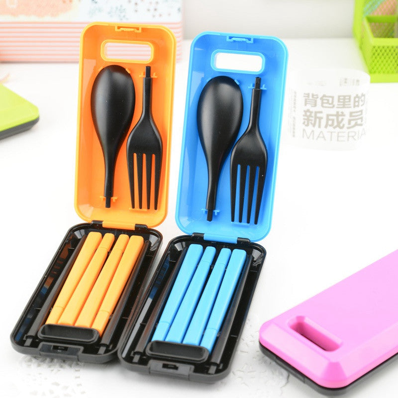 1Set Portable Travel Kids Adult Cutlery Chopsticks Spoon Fork Tableware Dinnerware Sets Camping Picnic Set Gift For Child Kids Dinnerware e-Kitchen Store- upcube