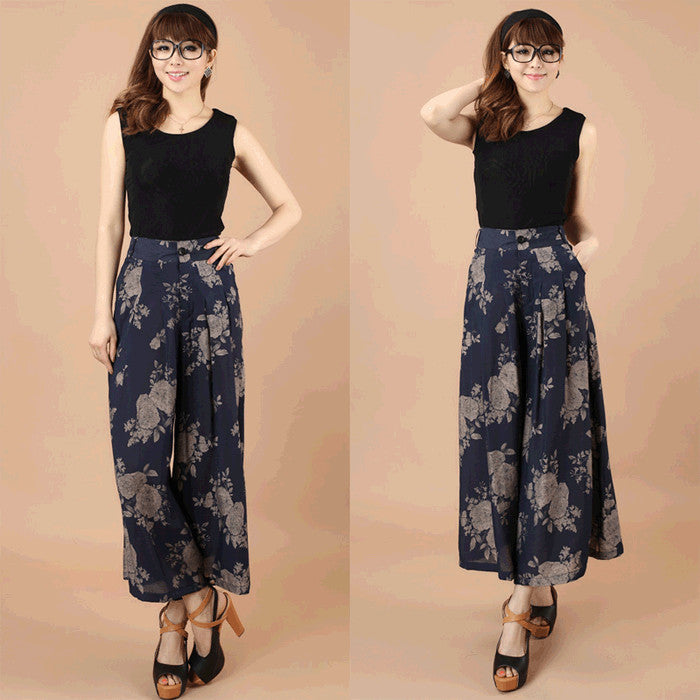 2016 Summer Women Female Mother Plus Size Loose Print  Dancing Skirt Trousers Falda Pantalon Wide Leg Pants Culottes Capris Pants & Capris fashiongogo- upcube