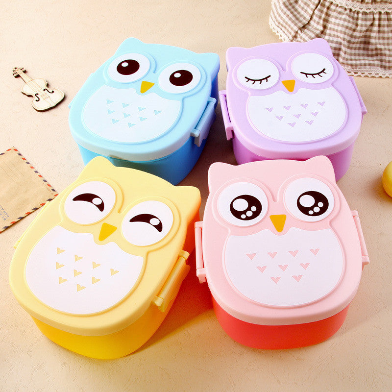 4 Colors 1050ml Cartoon Owl Lunch Box Plastic Fruit Food Container Portable Bento Box Picnic Storage Container Children Gifts Dinnerware Kitchen Online Store- upcube