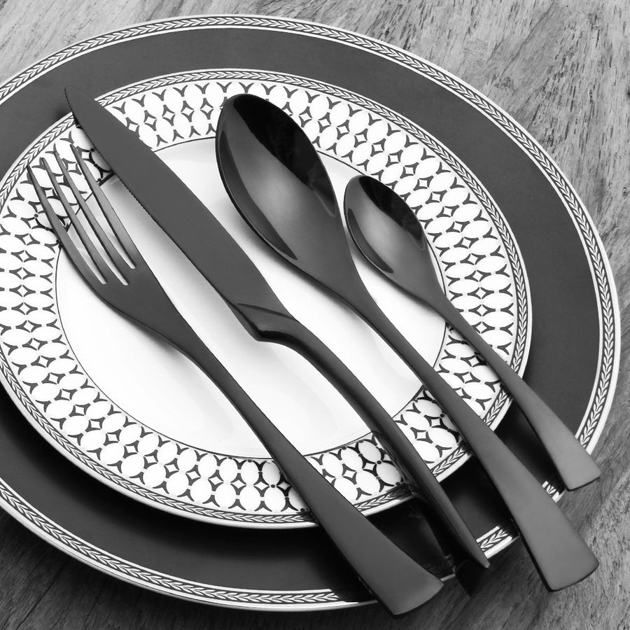 4PCS Stainless Steel Cutlery Set Black Flatware Sets Gift Mirror Polishing Silverware Sets Dinner Spoon Knife and Fork Set Dinnerware Lekoch- upcube