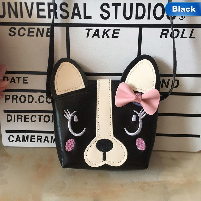 Children Handbag For Girl Bowknot Dog Shoulder Bag Baby Purse PU Leather Messenger Bag Kid Crossbody Bag Wallet