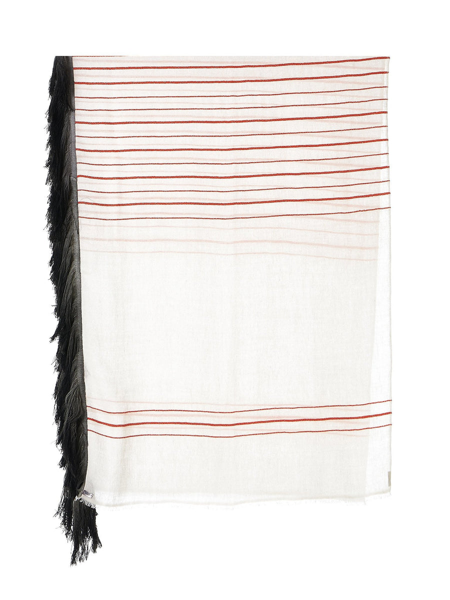 'Pradeep' Striped Scarf (PRADEEP-S-WHITE-OOHLALA-SHADOW)