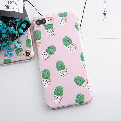 Phone Cases for iphone 5s 5 SE 6 6s 6plus Flowers Daisy Plants Fruit Cactus Leaves Pattern Soft TPU Case for iphone 7 7plus