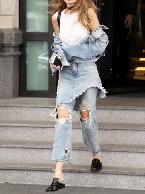 Uwback Flared Jeans Women 2017 New Ripped Jeans for Women Washed Boyfriend Gigi Hadid Harem Denim Jeans Pants Women CBB333