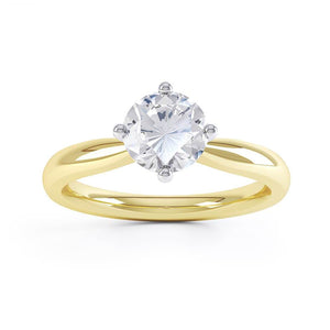 Adora Charles & Colvard Forever One 18k Two Tone Gold Solitaire