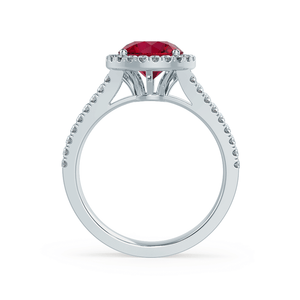 Amelia Chatham® Lab Grown Red Ruby & Diamond 18k White Gold Halo Ring
