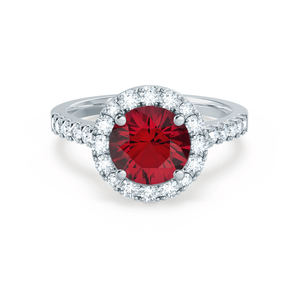 Cecily Chatham® Lab Grown Red Ruby & Diamond 18k White Gold Halo Ring
