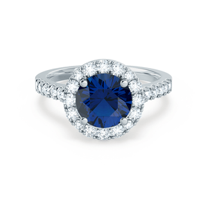 Cecily Chatham® Lab Grown Blue Sapphire & Diamond Platinum Halo Ring