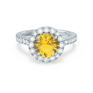 Cecily Chatham® Lab Grown Yellow Sapphire & Diamond Platinum Halo Ring