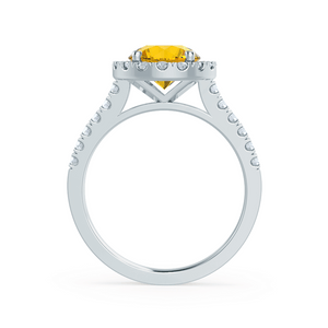 Cecily Chatham® Lab Grown Yellow Sapphire & Diamond 18k White Gold Halo Ring
