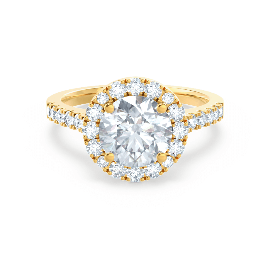 Cecily C&C Moissanite & Diamond 18k Yellow Gold Shoulder Set Ring