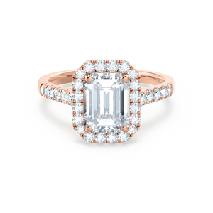 Esme Charles & Colvard Moissanite & Diamond Emerald 18k Rose Gold Halo