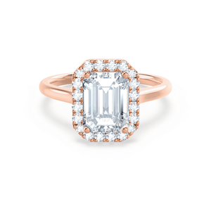 Evalina Charles & Colvard Moissanite & Diamond Emerald Cut 18k Rose Halo