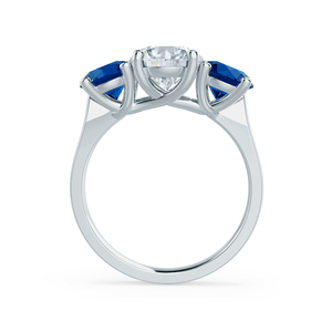 Lorella C&C Moissanite & Chatham® Lab Grown Sapphire Platinum Trilogy