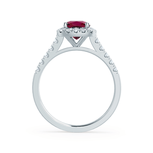 Ophelia Chatham® Lab Grown Red Ruby & Diamond 18K White Gold Halo Ring