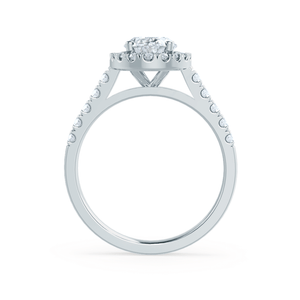 Rosa Charles & Colvard Moissanite & Diamond 18k White Gold Halo Ring